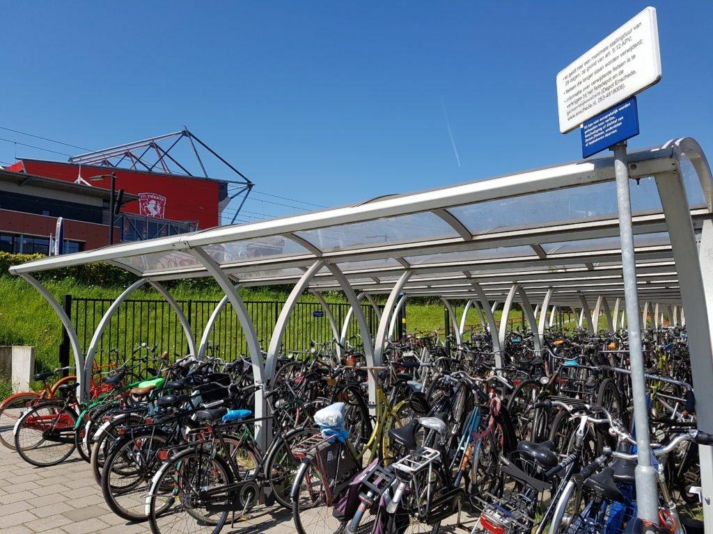 Cycle locking facilities outside stadium in Twente.