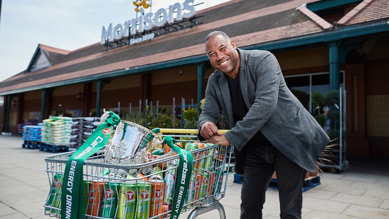 John Barnes pushes a trolley full of Carabao, a high-sugar, high-caffeine, high acid energy drink outside of a Morrisons supermarket ahead of the Carabao Cup draw.